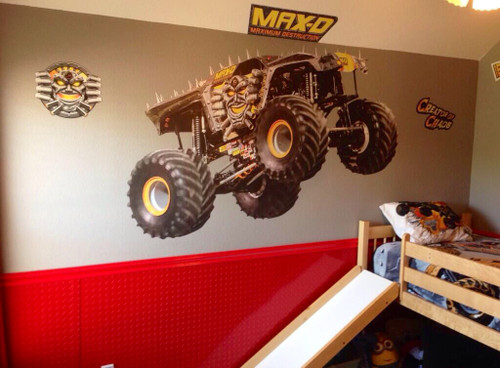 Aluminum red diamond plate used in monster truck motif in child's room. CutsMetal is the leader of online cosmetic diamond plate and stainless steel sales.