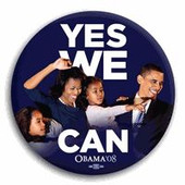 "Button:  ""Yes We Can""   Obama Family Button"