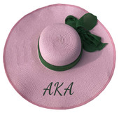 HAT:   AKA WOVEN STRAW  FLOPPY HATS  (PINK)