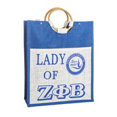 Zeta Phi Beta  Large  Shopping Jute Bag