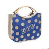 Bag - Sigma Gamma Rho  Tapered Polka Dot Jute Bag