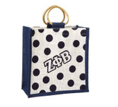 Bag:   Zeta Phi Beta  Mini Polka Dot Jute Bag