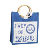 Bag:   Zeta Phi Beta  Mini Pocket Jute Bag