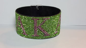 BRACELET:   AKA  Green & Pink Bling Bracelet  With Magnetic Closure
