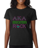 """AKA Educators Rock""   Rhinestone  Apparel"