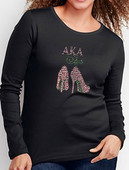 AKA Rhinestone   Heel Long Sleeve Tee. (Scoop Neck)