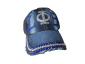 Cap - ZPB  Bling Bling Distressed Blue Jeans Denim Baseball Cap .