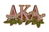 Jewel:  AKA  Pink Letters  w/  Ivy Leaves & 20 Enamel Pearls.