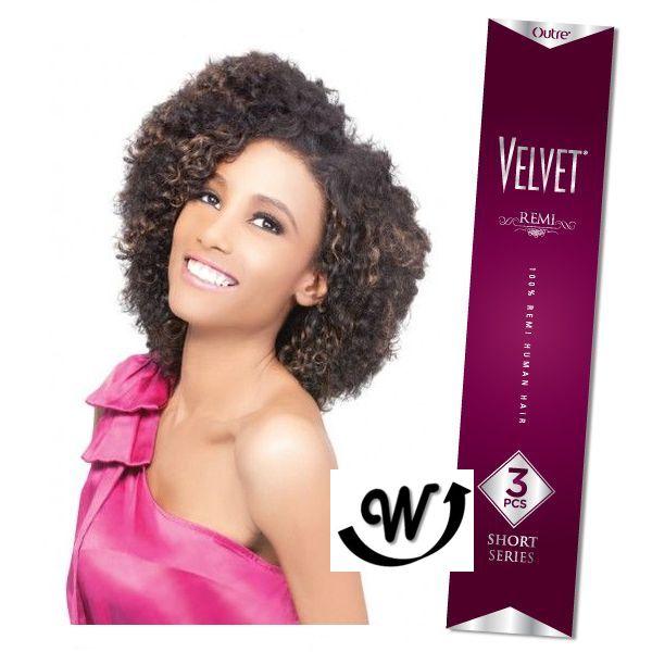 Outre 100 Remy Human Hair Weave Velvet Remi 3pcs Boho Curl