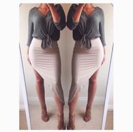 New custom handmade high leg asymmetric bodycon skirt 'Ava'
