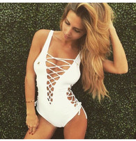 New 'Lima' lace up front and side swimsuit - WHITE
