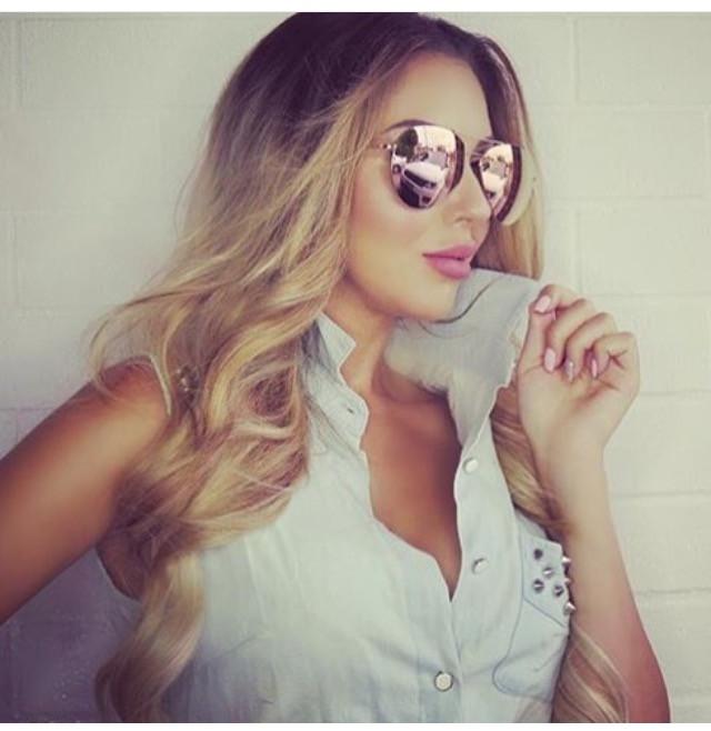 New  KoKo  oversized rimless mirrored aviator sunglasses - rose gold - Rock  Box Boutique 3a23ebef0d2