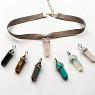 Ribbon choker necklace with quartz crystal pendant