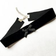 Wide black velvet ribbon with bow detail choker - 2.5cm wide