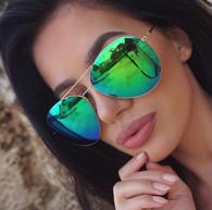 New 'KoKo' oversized rimless mirrored aviator sunglasses - Green/blue