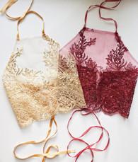 Embellished handmade 'Fantasy' halter neck crop top