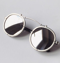 'Techno' mirrored round lens sunglasses - silver