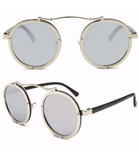 d192bfbee7 Techno  mirrored round lens sunglasses - silver - Rock Box Boutique