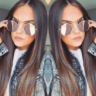 d406c955e1  CALI  Round lens mirrored bridgeless statement sunglasses ·