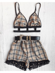 *NEW* 'PIXI' 2 piece handmade caramel plaid festival set with high waisted tassel shorts