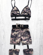 *NEW* 'Bad B*TCH ULTIMATE' 2 piece handmade Camo festival set with high waisted cycle shorts