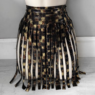 *NEW* 'COBRA' 2 piece handmade snakeskin foil embossed tassel skirt with high waist pants