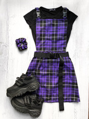 Check Me Out! Tartan buckle pinafore dress