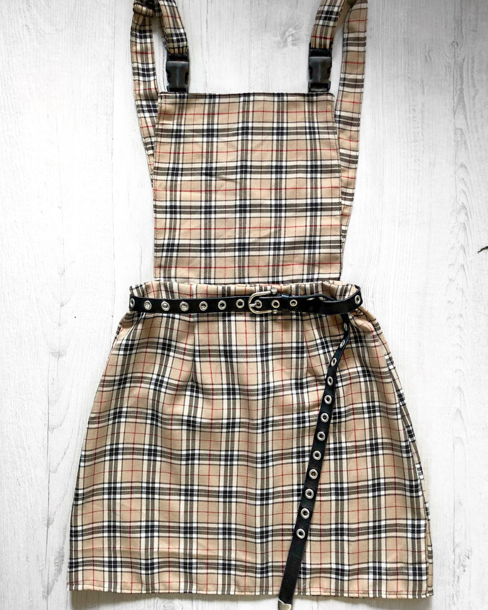 545ced93b9a Check Me Out! Tartan pinafore dress. - Rock Box Boutique