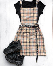 Check Me Out! Tartan pinafore buckle dress.