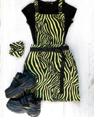 WILDSTYLE zebra print pinafore buckle dress.