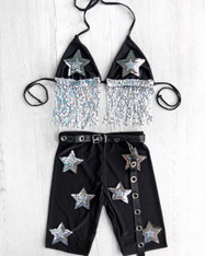 SHINE BRIGHT sequin drop 2 PIECE triangle top & cycling shorts - SILVER STAR
