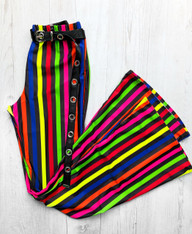 SHINE BRIGHT - CIRQUE multi coloured stripe high waist flares
