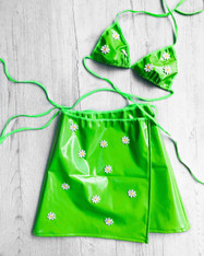SHINE BRIGHT - DAISYCHAIN green vinyl 2 piece set with wrap skirt and triangle halter tie top
