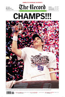 Champs!! NY Giants Super Bowl Victory Front Page Reprint