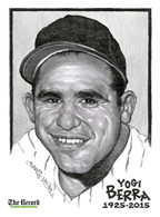 Yogi Berra 1925-2015 Commemorative Illustration Plaque by Charlie McGill of The Record