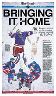 "NY Rangers ""Bringing It Home"" Sports Front Page Reprint"