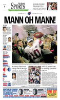 """Mann Oh Mann"" NY Giants 2008 Super Bowl Victory Sports Front Page Reprint"