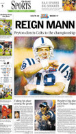 """Reign Mann"" 2007 Super Bowl Victory Sports Front Page Reprint"