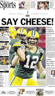 """Say Cheese!"" 2011 Super Bowl Victory Sports Front Page Reprint"