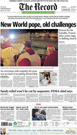 """New World Pope"" 2013 Election of Pope Francis Front Page Reprint"