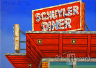 Schuyler Diner, Lyndhurst, NJ, framed oil painting on linen (Artist: Mark Oberndorf)