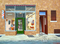 Rochelle Park Barber Shop, Rochelle Park, NJ, framed oil painting on linen (Artist: Mark Oberndorf)