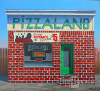 Pizzaland, North Arlington, NJ, framed original oil painting (Artist: Mark Oberndorf)