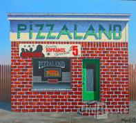 Pizzaland, North Arlington, NJ, framed original oil painting (Artist: Mark Oberndorf)