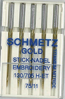 Schmetz Gold Titanium Embroidery Needles sz11/75