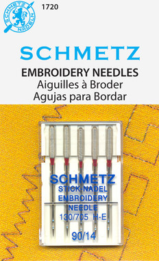 Light ball point with especially wide eye and enlarged groove in scarf allow for smooth machine embroidery with all types of threads from voluminous woolens to metallics & other more fragile threads. System: 130/705 H-E. Size 11/75. 5 needles per pack. Carded.