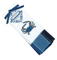 "Embroidered Crab Napkin with blue stripe border 12"" x 20"" (set of 4)"