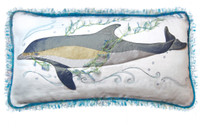 "Ocean's Gem Dolphin Cotton Pillow - 14"" x 24"""