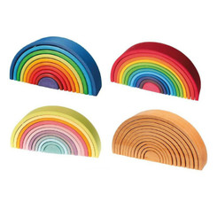 Grimm's Rainbow, Sunset Rainbow, Pastel Rainbow and Natural stacking tunnels