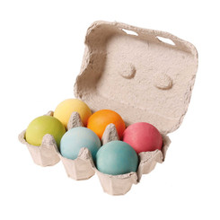 Grimm's 6 Wooden Balls Pastel in egg carton